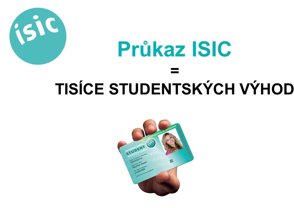 ISIC je mezinárodní průkaz studenta, takže platí všude Jen v ČR si ho každý rok pořídí čtvrt milionu studentů ISIC si teď můžete pořídit pohodlně a levněji přímo ve své škole Dostanete kartu, která se dá každý rok prodlužovat; není třeba každý rok pořizovat průkaz znova Co to je ISIC?