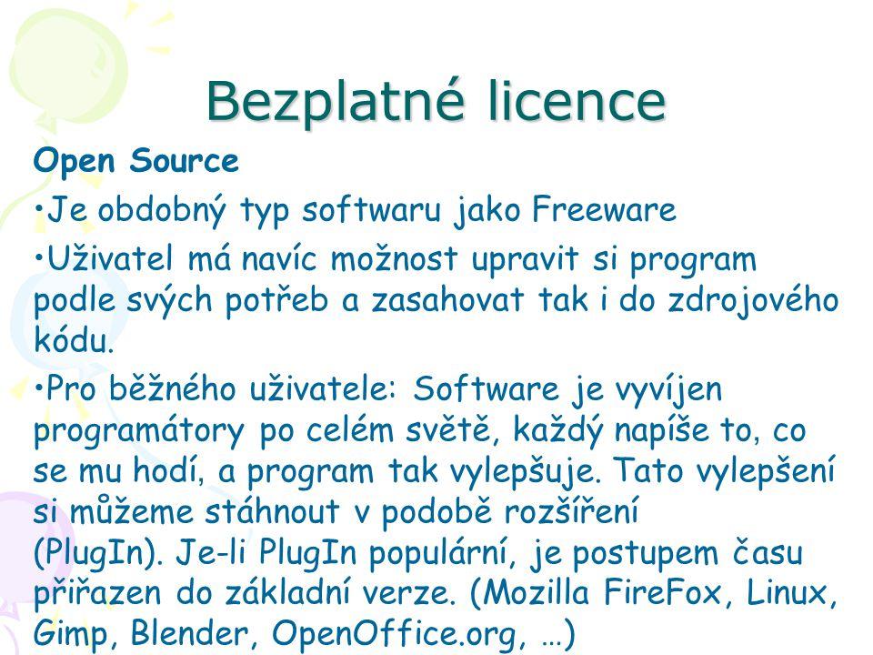 Bezplatné licence Open Source Je obdobný typ softwaru jako Freeware Uživatel má navíc možnost upravit si program podle svých potřeb a zasahovat tak i do zdrojového kódu.