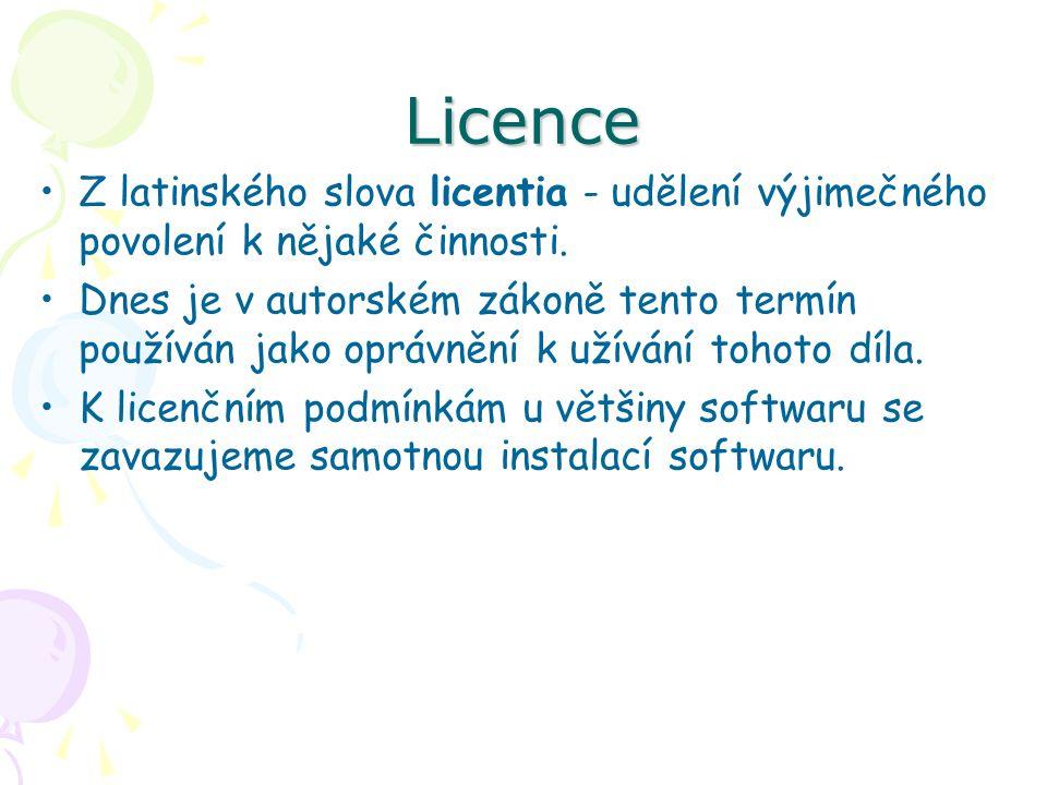 Licence Z latinského slova licentia - udělení výjimečného povolení k nějaké činnosti.