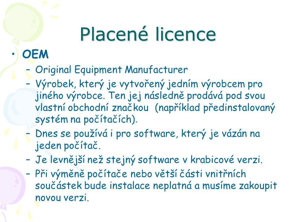 Placené licence OEM –Original Equipment Manufacturer –Výrobek, který je vytvořený jedním výrobcem pro jiného výrobce.