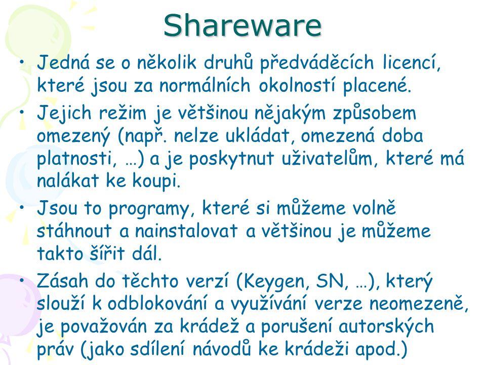 Shareware Jedná se o několik druhů předváděcích licencí, které jsou za normálních okolností placené.