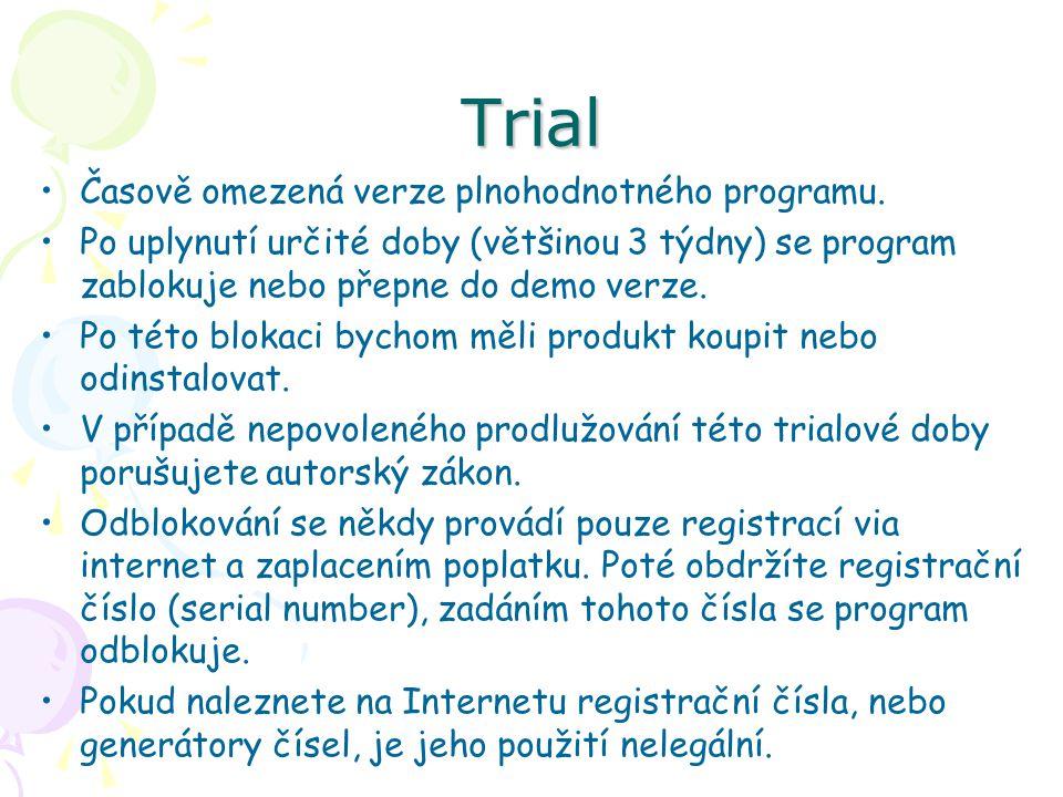 Trial Časově omezená verze plnohodnotného programu. Po uplynutí určité doby (většinou 3 týdny) se program zablokuje nebo přepne do demo verze. Po této