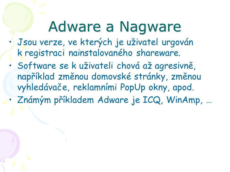 Adware a Nagware Jsou verze, ve kterých je uživatel urgován k registraci nainstalovaného shareware.