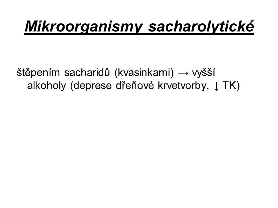 Mikroorganismy sacharolytické štěpením sacharidů (kvasinkami) → vyšší alkoholy (deprese dřeňové krvetvorby, ↓ TK)