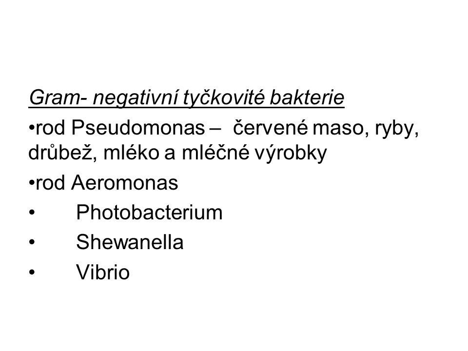 Gram- negativní tyčkovité bakterie rod Pseudomonas – červené maso, ryby, drůbež, mléko a mléčné výrobky rod Aeromonas Photobacterium Shewanella Vibrio