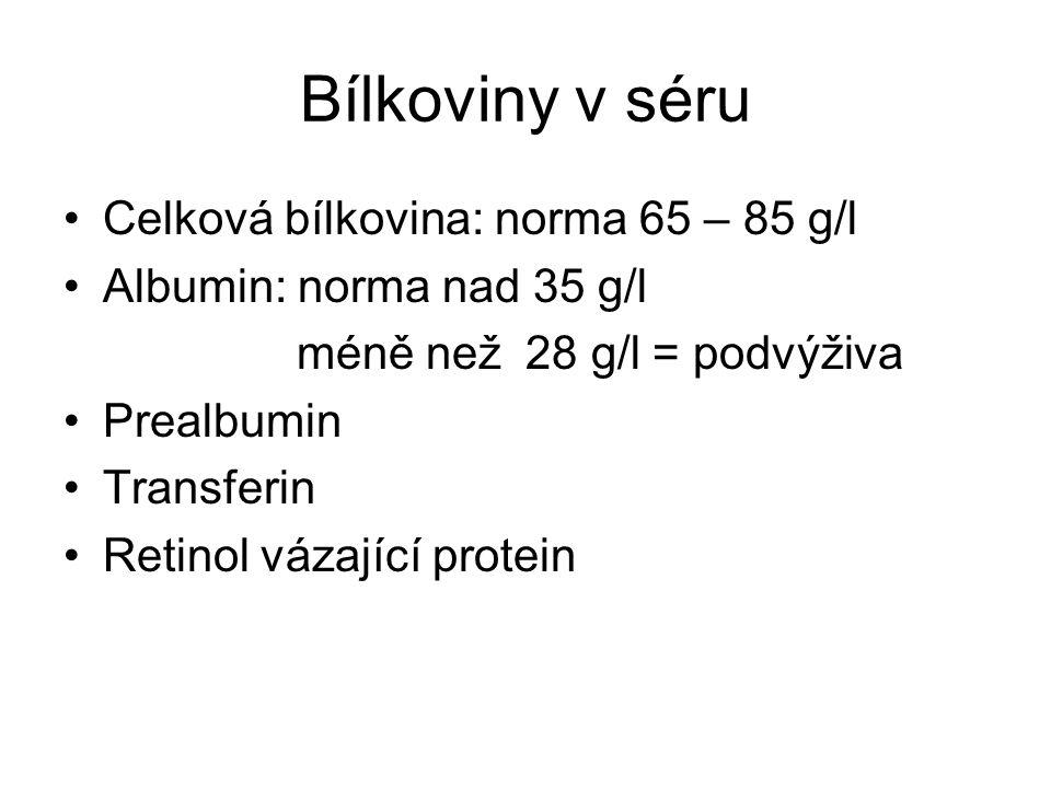 Bílkoviny v séru Celková bílkovina: norma 65 – 85 g/l Albumin: norma nad 35 g/l méně než 28 g/l = podvýživa Prealbumin Transferin Retinol vázající protein