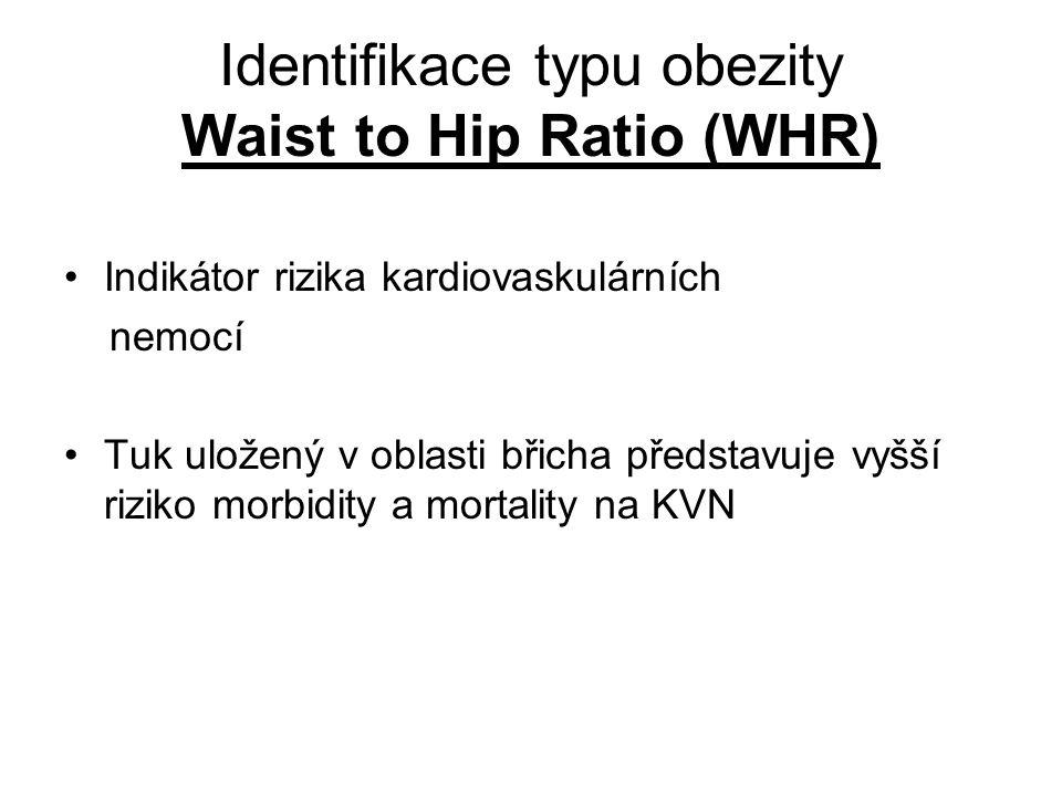 Identifikace typu obezity Waist to Hip Ratio (WHR) Indikátor rizika kardiovaskulárních nemocí Tuk uložený v oblasti břicha představuje vyšší riziko mo