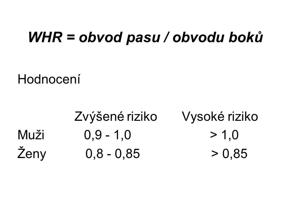 WHR = obvod pasu / obvodu boků Hodnocení Zvýšené riziko Vysoké riziko Muži 0,9 - 1,0 > 1,0 Ženy 0,8 - 0,85 > 0,85