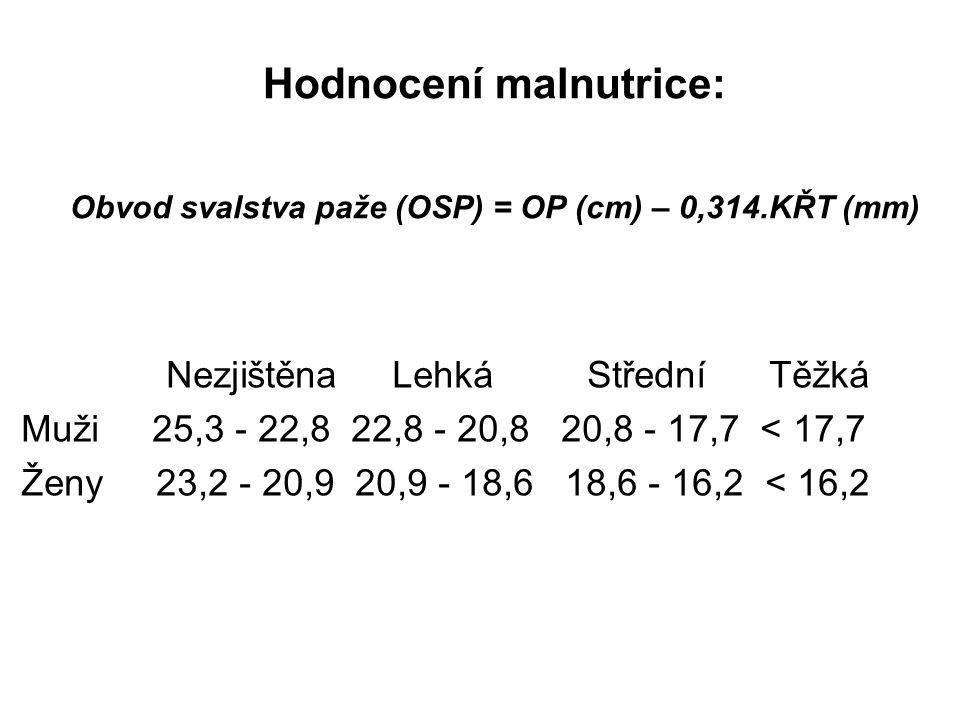 Hodnocení malnutrice: Obvod svalstva paže (OSP) = OP (cm) – 0,314.KŘT (mm) Nezjištěna Lehká Střední Těžká Muži 25,3 - 22,8 22,8 - 20,8 20,8 - 17,7 < 17,7 Ženy 23,2 - 20,9 20,9 - 18,6 18,6 - 16,2 < 16,2