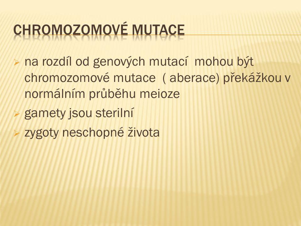  na rozdíl od genových mutací mohou být chromozomové mutace ( aberace) překážkou v normálním průběhu meioze  gamety jsou sterilní  zygoty neschopné života