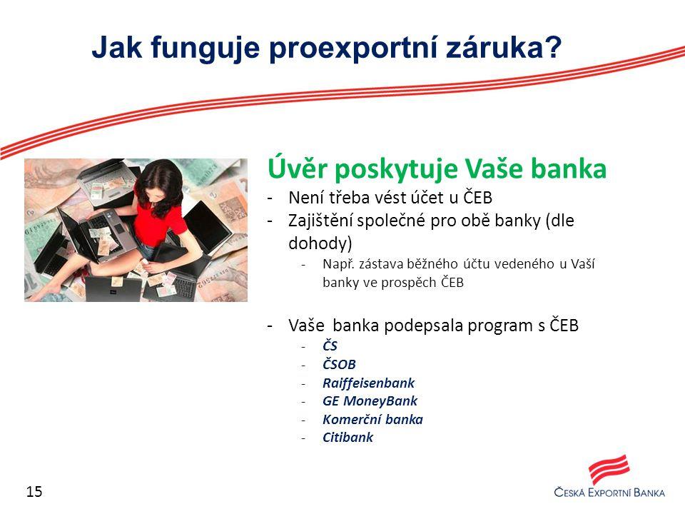 Jak funguje proexportní záruka? Úvěr poskytuje Vaše banka -Není třeba vést účet u ČEB -Zajištění společné pro obě banky (dle dohody) -Např. zástava bě