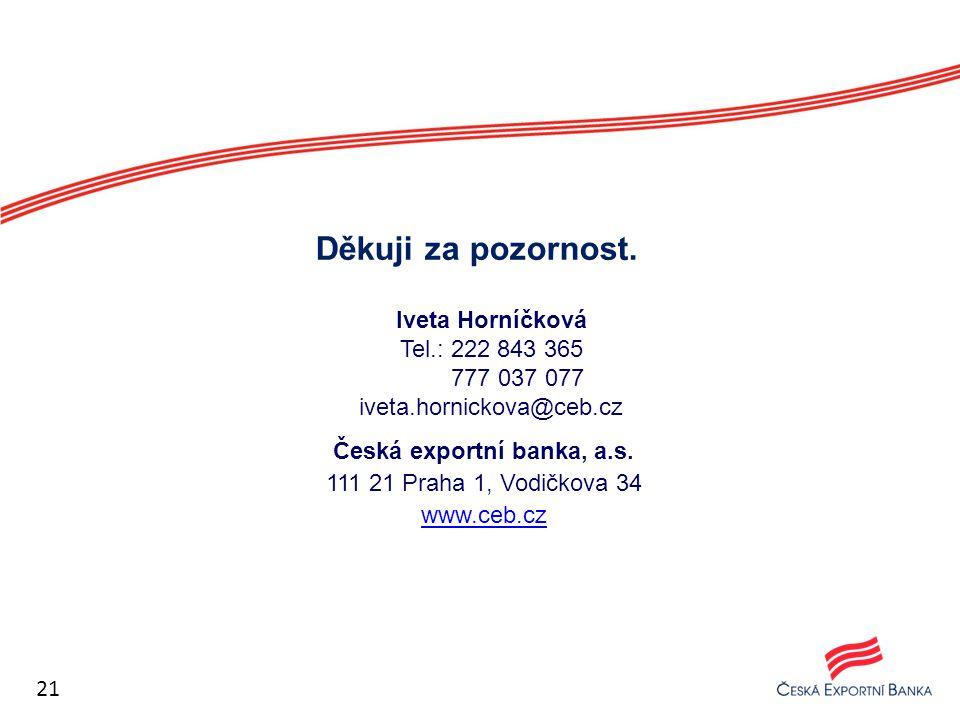 Česká exportní banka, a.s. 111 21 Praha 1, Vodičkova 34 www.ceb.cz Děkuji za pozornost. Iveta Horníčková Tel.: 222 843 365 777 037 077 iveta.hornickov