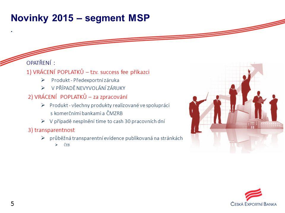 Novinky 2015 – segment MSP OPATŘENÍ : 1) VRÁCENÍ POPLATKŮ – tzv. success fee příkazci  Produkt - Předexportní záruka  V PŘÍPADĚ NEVYVOLÁNÍ ZÁRUKY 2)