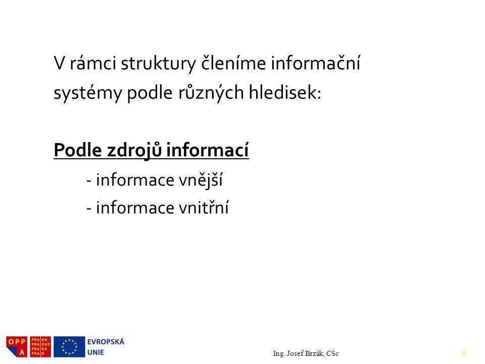 V rámci struktury členíme informační systémy podle různých hledisek: Podle zdrojů informací - informace vnější - informace vnitřní Ing. Josef Brzák, C