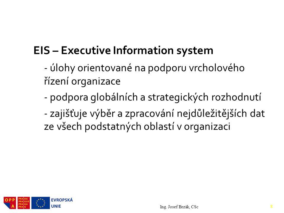 2. Druhy IS EIS – Executive Information system - úlohy orientované na podporu vrcholového řízení organizace - podpora globálních a strategických rozho