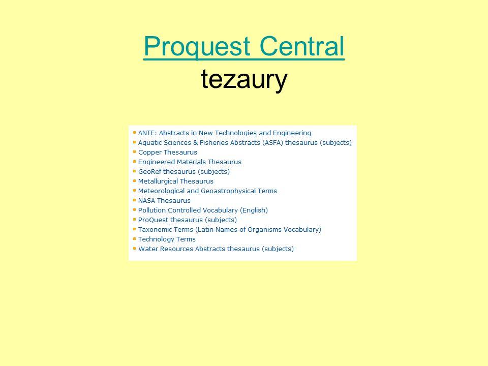 Proquest Central Proquest Central tezaury