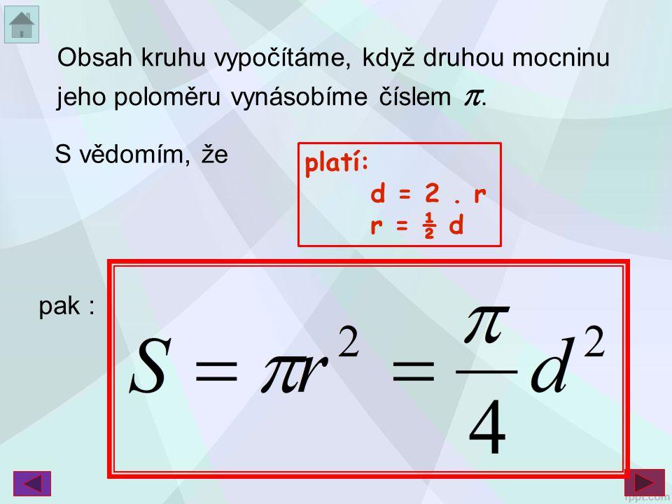 Obsah kruhu vypočítáme, když druhou mocninu jeho poloměru vynásobíme číslem . S vědomím, že platí: d = 2. r r = ½ d pak :