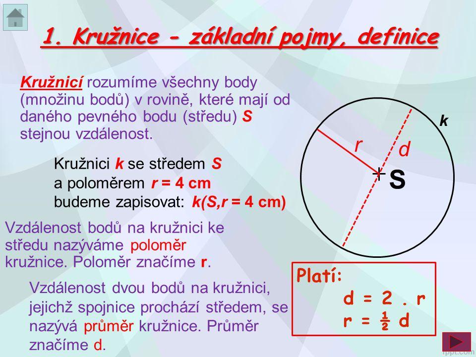 1. Kružnice - základní pojmy, definice Platí: d = 2. r r = ½ d Kružnicí rozumíme všechny body (množinu bodů) v rovině, které mají od daného pevného bo