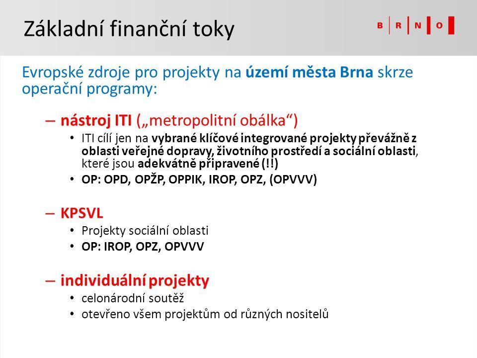 """Základní finanční toky Evropské zdroje pro projekty na území města Brna skrze operační programy: – nástroj ITI (""""metropolitní obálka"""") ITI cílí jen na"""