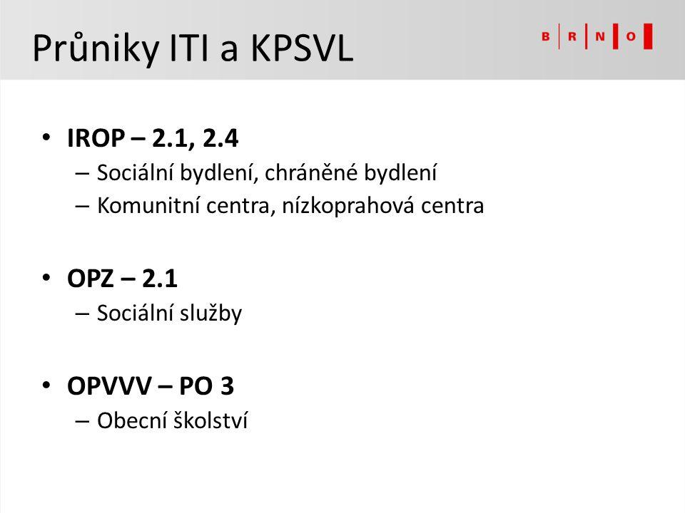 Průniky ITI a KPSVL IROP – 2.1, 2.4 – Sociální bydlení, chráněné bydlení – Komunitní centra, nízkoprahová centra OPZ – 2.1 – Sociální služby OPVVV – P
