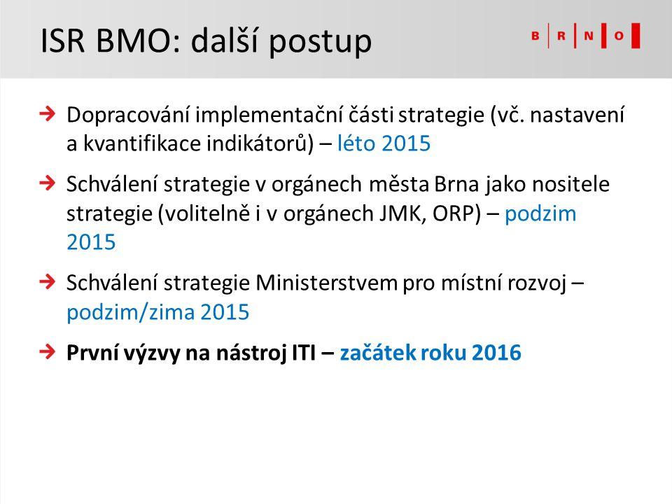 Dopracování implementační části strategie (vč. nastavení a kvantifikace indikátorů) – léto 2015 Schválení strategie v orgánech města Brna jako nositel