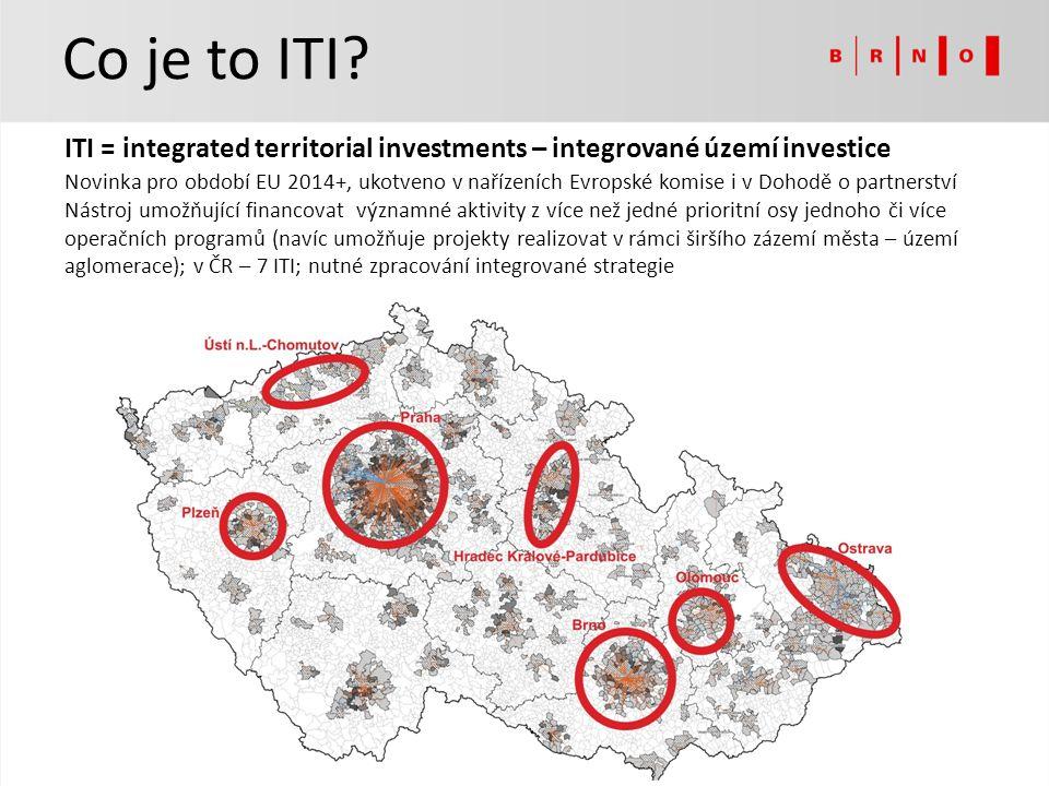 Co je to ITI? ITI = integrated territorial investments – integrované území investice Novinka pro období EU 2014+, ukotveno v nařízeních Evropské komis