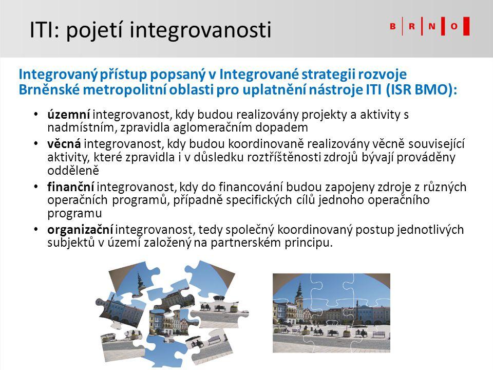 Integrovaný přístup popsaný v Integrované strategii rozvoje Brněnské metropolitní oblasti pro uplatnění nástroje ITI (ISR BMO): územní integrovanost,