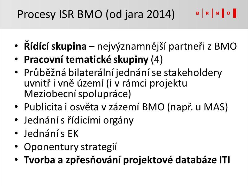 Řídící skupina – nejvýznamnější partneři z BMO Pracovní tematické skupiny (4) Průběžná bilaterální jednání se stakeholdery uvnitř i vně území (i v rám