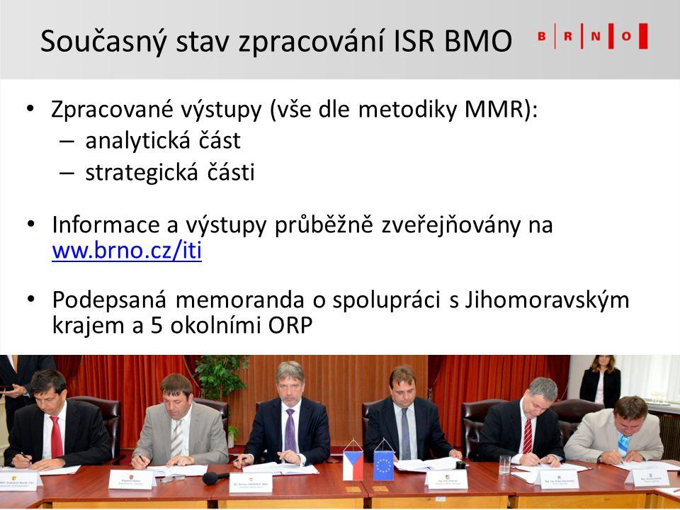 Zpracované výstupy (vše dle metodiky MMR): – analytická část – strategická části Informace a výstupy průběžně zveřejňovány na ww.brno.cz/iti ww.brno.c