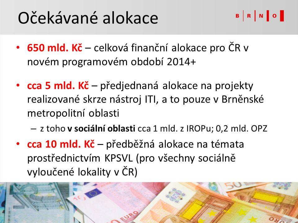 Očekávané alokace 650 mld. Kč – celková finanční alokace pro ČR v novém programovém období 2014+ cca 5 mld. Kč – předjednaná alokace na projekty reali