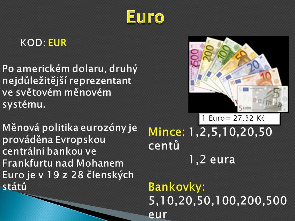 1 Euro= 27,32 Kč Mince: 1,2,5,10,20,50 centů 1,2 eura Bankovky: 5,10,20,50,100,200,500 eur KOD: EUR Po americkém dolaru, druhý nejdůležitější reprezentant ve světovém měnovém systému.