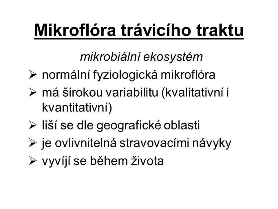 Mikroflóra trávicího traktu mikrobiální ekosystém  normální fyziologická mikroflóra  má širokou variabilitu (kvalitativní i kvantitativní)  liší se dle geografické oblasti  je ovlivnitelná stravovacími návyky  vyvíjí se během života