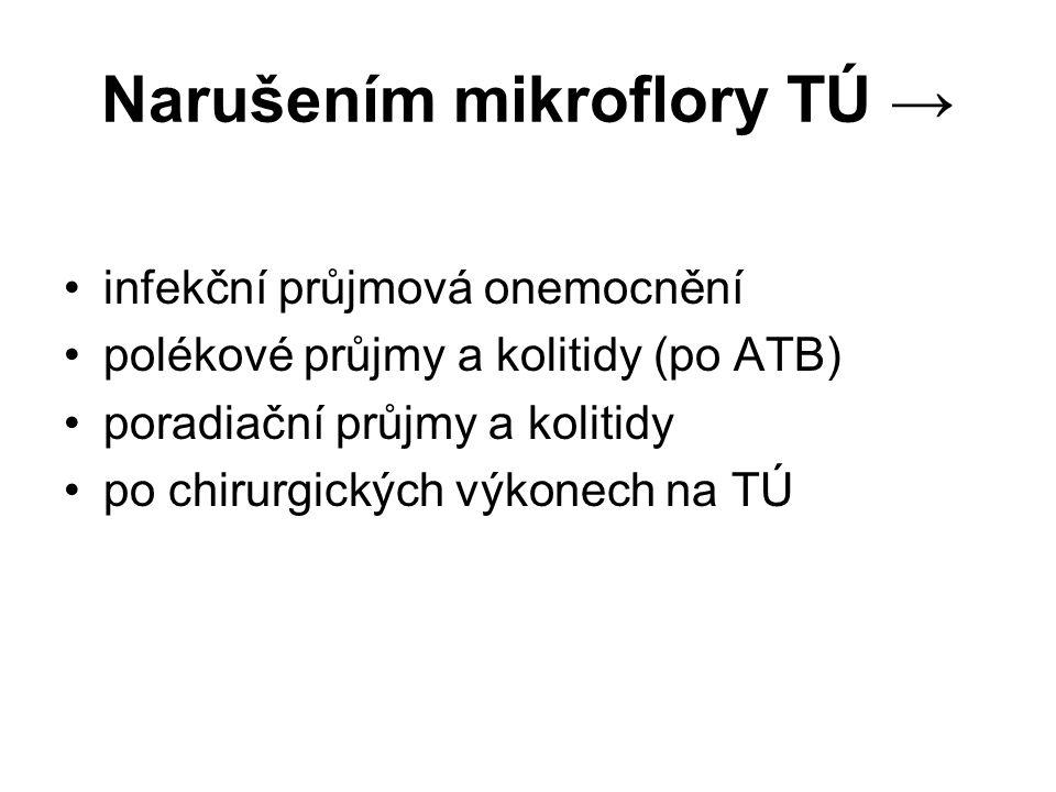 Narušením mikroflory TÚ → infekční průjmová onemocnění polékové průjmy a kolitidy (po ATB) poradiační průjmy a kolitidy po chirurgických výkonech na TÚ