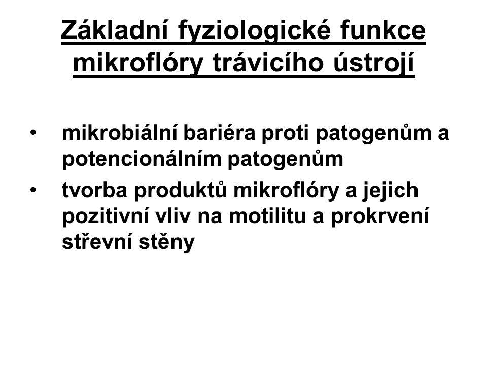 Základní fyziologické funkce mikroflóry trávicího ústrojí mikrobiální bariéra proti patogenům a potencionálním patogenům tvorba produktů mikroflóry a jejich pozitivní vliv na motilitu a prokrvení střevní stěny
