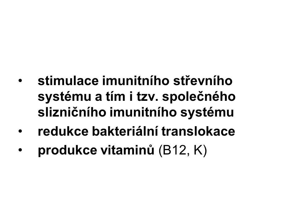 stimulace imunitního střevního systému a tím i tzv. společného slizničního imunitního systému redukce bakteriální translokace produkce vitaminů (B12,