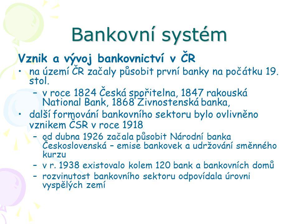 Bankovní systém Vznik a vývoj bankovnictví v ČR na území ČR začaly působit první banky na počátku 19.