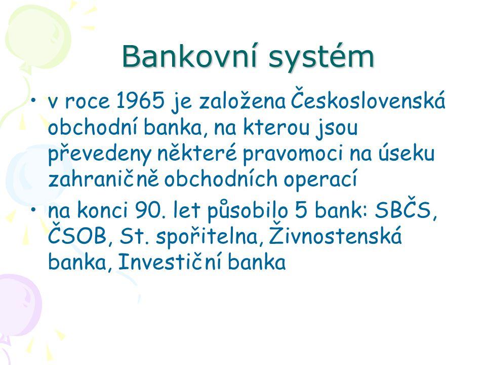 Bankovní systém Bankovní systém v roce 1965 je založena Československá obchodní banka, na kterou jsou převedeny některé pravomoci na úseku zahraničně obchodních operací na konci 90.