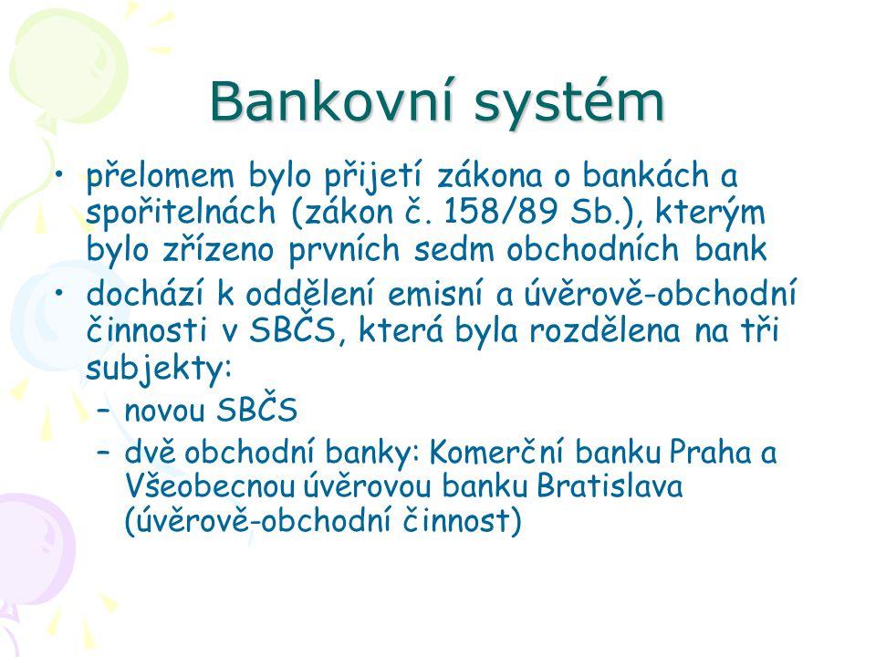 Bankovní systém přelomem bylo přijetí zákona o bankách a spořitelnách (zákon č.