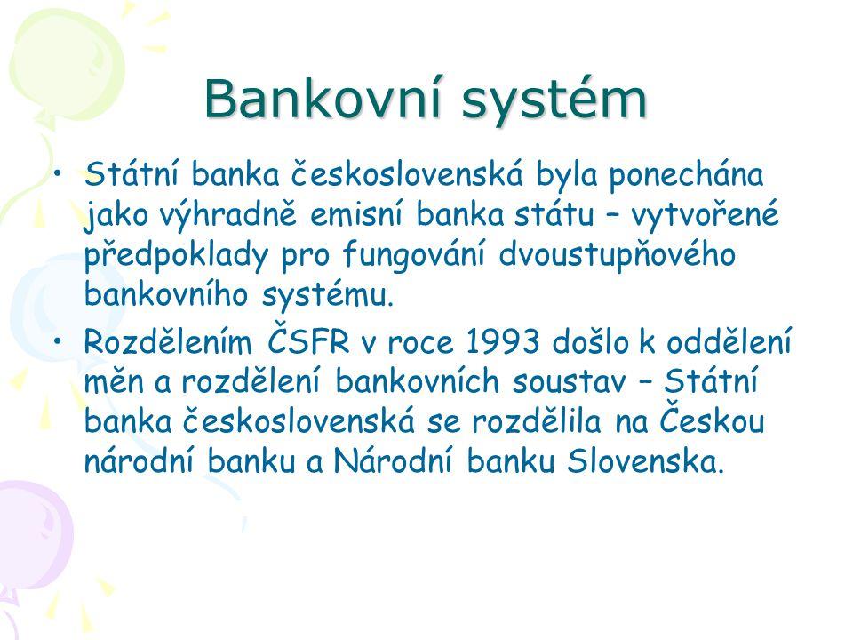 Bankovní systém Státní banka československá byla ponechána jako výhradně emisní banka státu – vytvořené předpoklady pro fungování dvoustupňového bankovního systému.