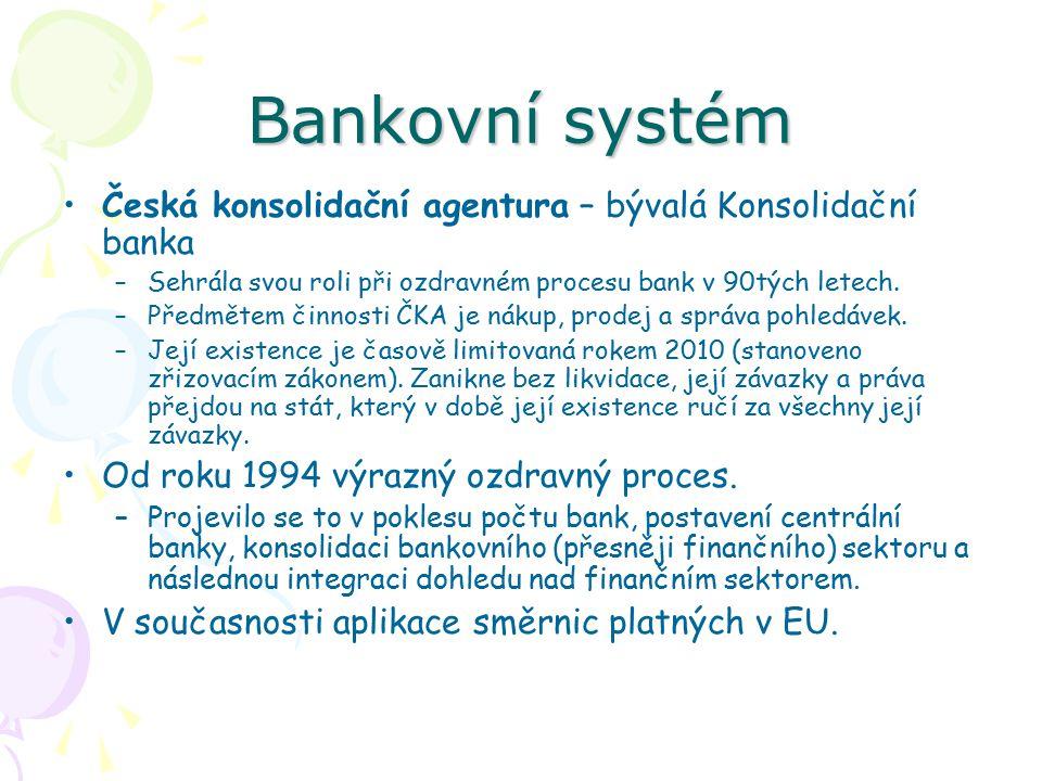 Bankovní systém Česká konsolidační agentura – bývalá Konsolidační banka –Sehrála svou roli při ozdravném procesu bank v 90tých letech.