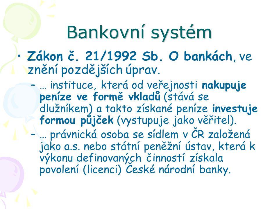 Bankovní systém Zákon č.21/1992 Sb. O bankách, ve znění pozdějších úprav.