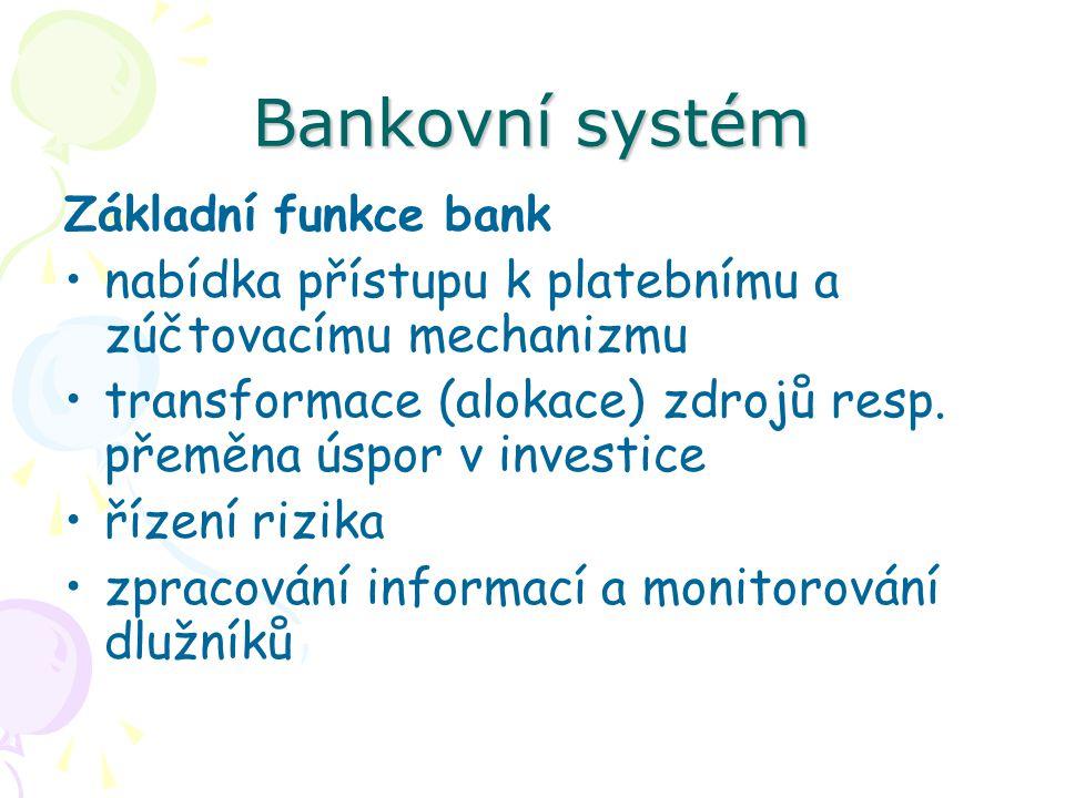 Bankovní systém Základní funkce bank nabídka přístupu k platebnímu a zúčtovacímu mechanizmu transformace (alokace) zdrojů resp.