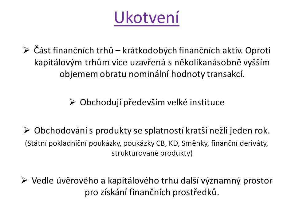 Ukotvení  Část finančních trhů – krátkodobých finančních aktiv.