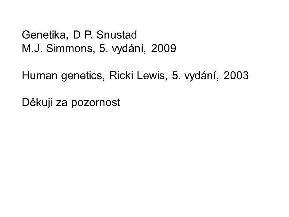 Genetika, D P. Snustad M.J. Simmons, 5. vydání, 2009 Human genetics, Ricki Lewis, 5. vydání, 2003 Děkuji za pozornost