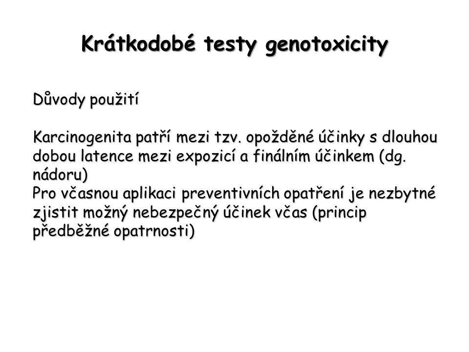 Krátkodobé testy genotoxicity Důvody použití Karcinogenita patří mezi tzv. opožděné účinky s dlouhou dobou latence mezi expozicí a finálním účinkem (d