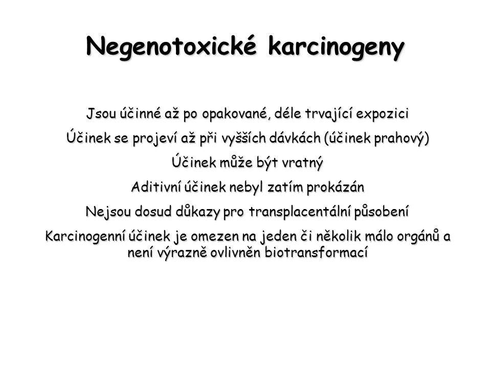 Negenotoxické karcinogeny Jsou účinné až po opakované, déle trvající expozici Účinek se projeví až při vyšších dávkách (účinek prahový) Účinek může bý