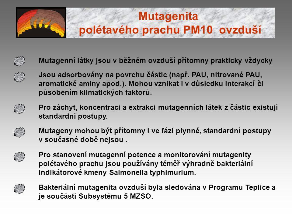 Mutagenní látky jsou v běžném ovzduší přítomny prakticky vždycky Jsou adsorbovány na povrchu částic (např. PAU, nitrované PAU, aromatické aminy apod.)