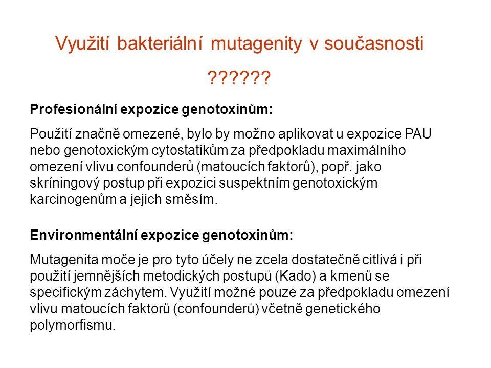 Využití bakteriální mutagenity v současnosti ?????? Profesionální expozice genotoxinům: Použití značně omezené, bylo by možno aplikovat u expozice PAU