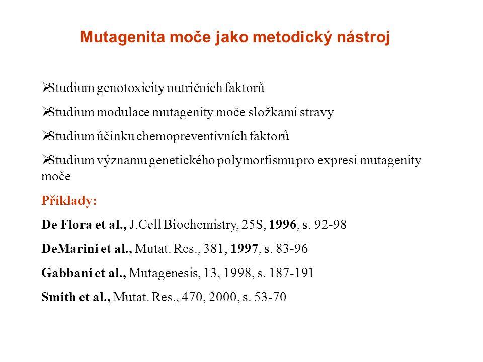Mutagenita moče jako metodický nástroj  Studium genotoxicity nutričních faktorů  Studium modulace mutagenity moče složkami stravy  Studium účinku c