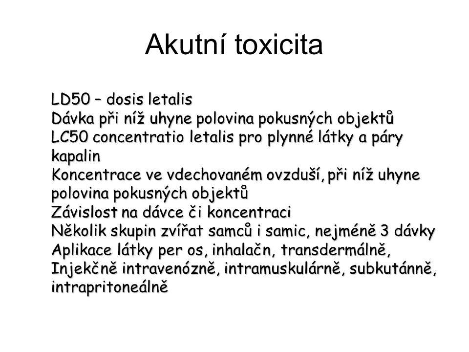 Akutní toxicita LD50 – dosis letalis Dávka při níž uhyne polovina pokusných objektů LC50 concentratio letalis pro plynné látky a páry kapalin Koncentr